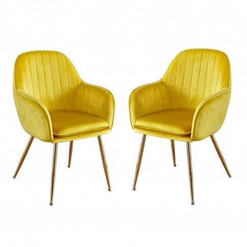 Set Of 2 Yellow Velvet Dining Chairs With Gold Legs ...
