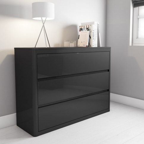 Lexi High Gloss Dark Grey Wide Chest Of Drawers