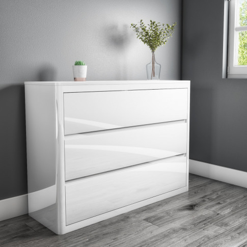 Lexi White High Gloss Wide 3 Chest Of Drawers