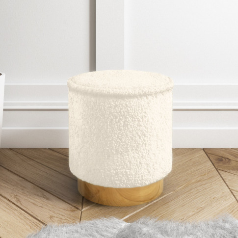 Leo Small Faux Sheepskin Round Stool In Natural Cream
