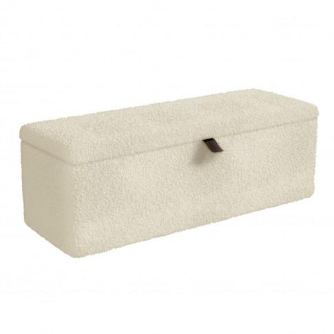 Leo Faux Sheepskin Storage Blanket Box In Natural Cream