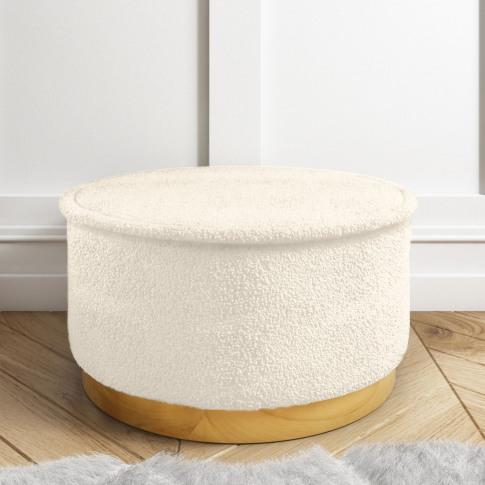 Leo Large Round Faux Sheepskin Pouffe In Natural Cream
