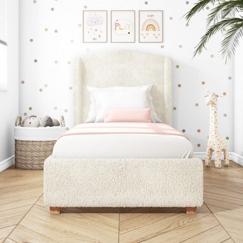 Natural Cream Wing Back Single Bed Frame In Faux She...