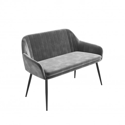 Grey Velvet Dining Bench With Black Legs And High Ba...