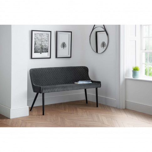 Julian Bowen Luxe High Back Dining Bench In Grey