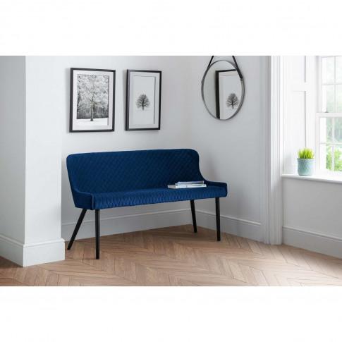 Julian Bowen Luxe High Back Dining Bench In Blue