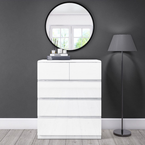 Small 5 Drawer Chest Of Drawers In White Gloss - Lyra
