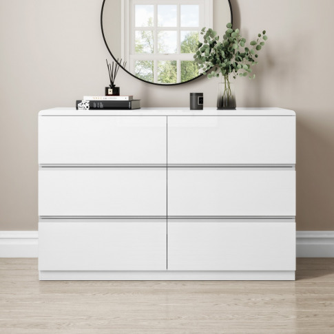 Small 6 Drawer Chest Of Drawers In White Gloss - Lyra