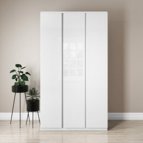 Small White Gloss Triple Wardrobe - Lyra