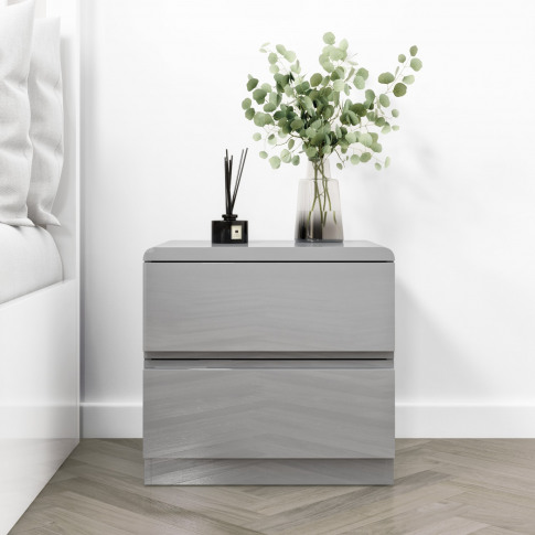 Small 2 Drawer Bedside Table In Grey Gloss - Lyra