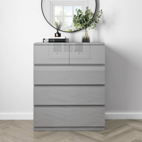 Small 5 Drawer Chest Of Drawers In Grey Gloss - Lyra