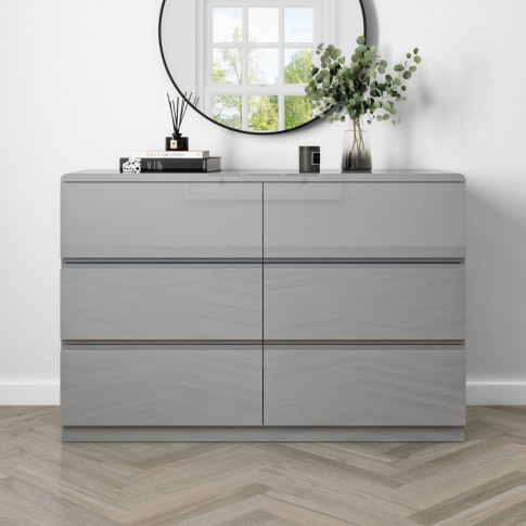 Small 6 Drawer Chest Of Drawers In Grey Gloss - Lyra