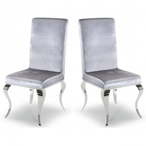 Louis Pair Of Silver Velvet Dining Chairs With Mirro...