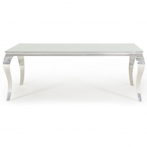 Louis Mirrored Dining Table In White - Vida Living -...
