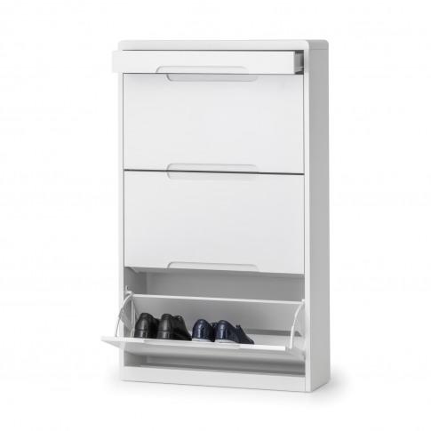 White High Gloss Shoe Storage Cabinet - 9 Pairs - Julian Bowen Manhattan