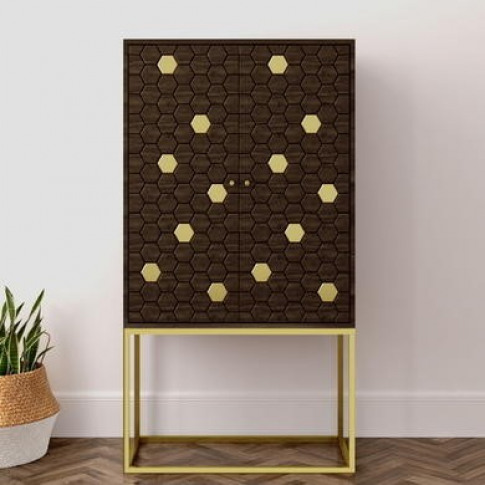 Drinks Cabinet in Gold & Dark Wood - Mari