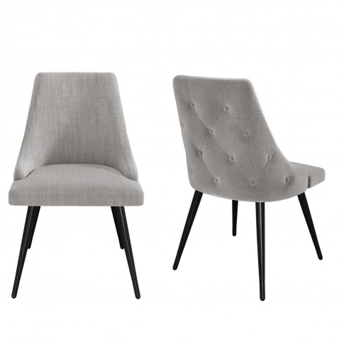 Pair Of Light Grey Fabric Dining Chairs With Buttone...