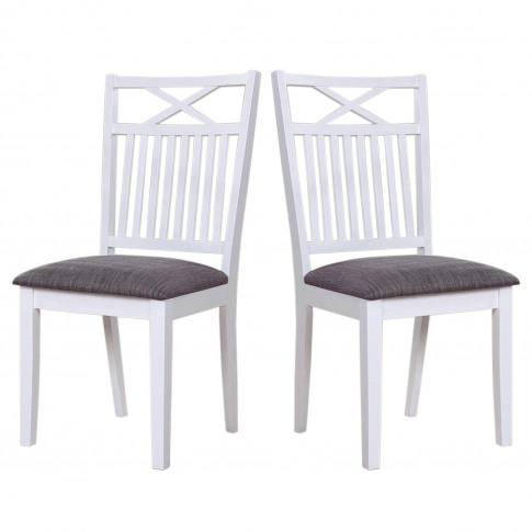 White Wooden Dining Chairs With Grey Seat Pad - 2 Ch...