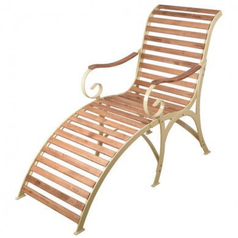 Wooden Garden Lounger with Cream Metal Frame