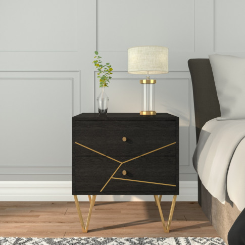 Mika 2 Drawer Dark Brown Bedside Table With Brass Inlay