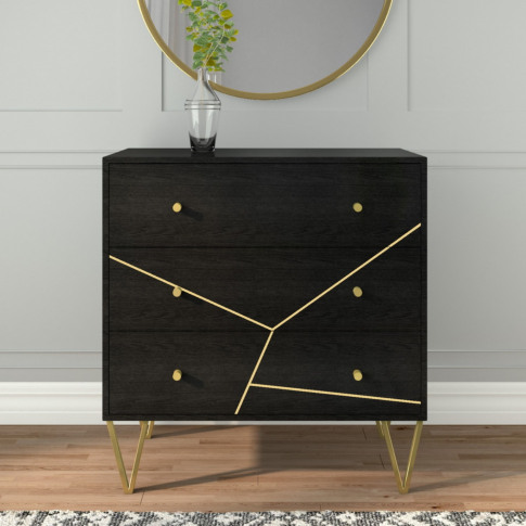 Mika 3 Drawer Dark Brown Chest Of Drawers With Brass...
