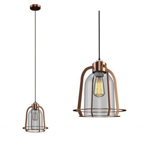 Copper & Glass Dome Pendant Light - Industrial - Cor...