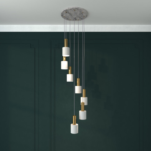 7 Light Ceiling Light With Marble & Gold Pendants - ...
