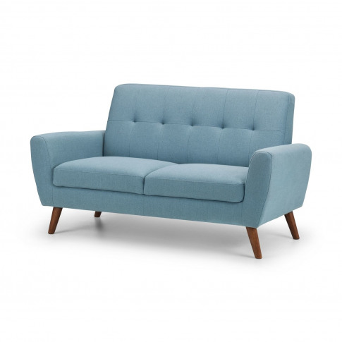 Light Blue Fabric Sofa - 2 Seater - Monza