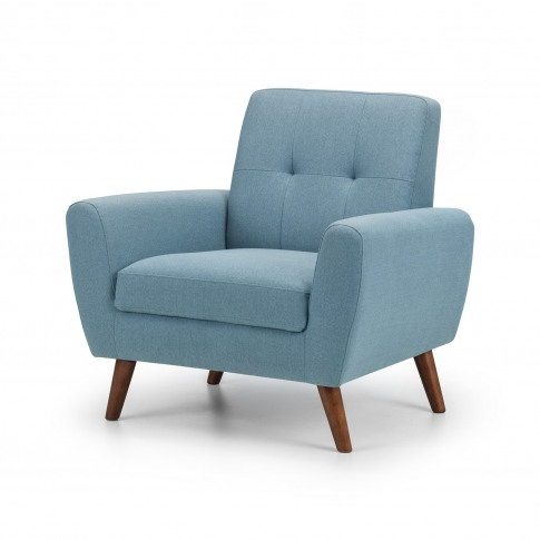 Monza Armchair In Blue Fabric With Wooden Legs - Jul...