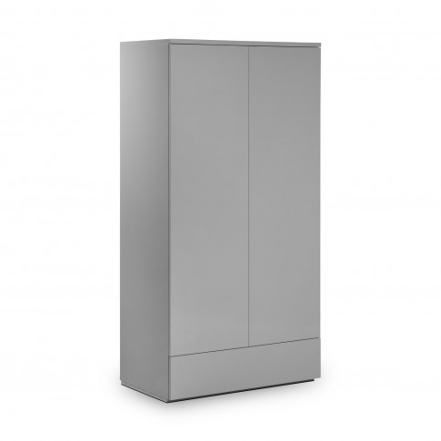 Julian Bowen Monaco 2 Door 1 Drawer Wardrobe In Grey High Gloss