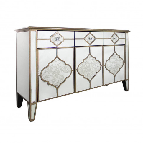 Aurora Boutique Morocco Vintage Mirrored 3 Drawer 3 Door Sideboard With Gold Trim