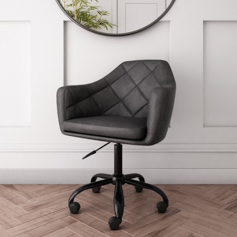 Dark Grey Faux Leather Office Chair With Swivel Base...