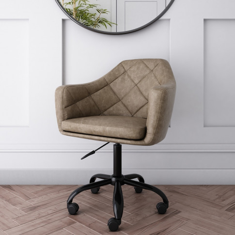 Beige Faux Leather Office Chair With Swivel Base - M...