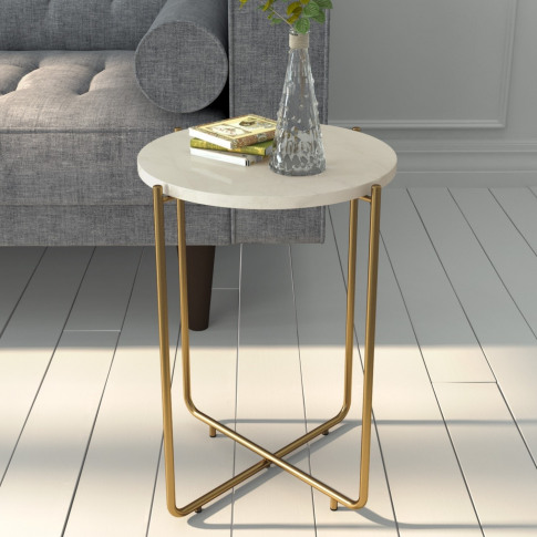 Marble Side Table In White With Gold Metal - Martina