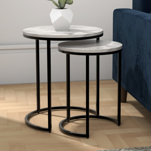 White Marble Nesting Tables With Black Base - Set Of...