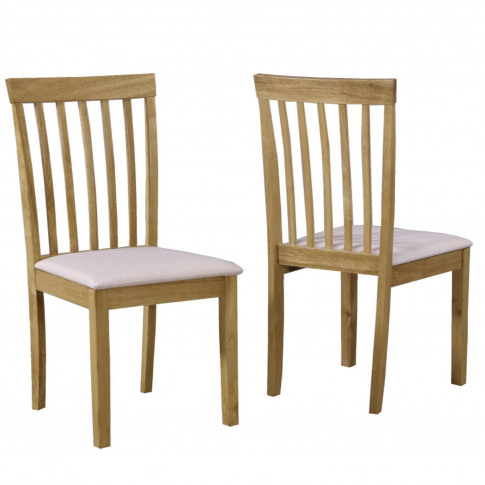 Slatted Pair Of Dining Chairs In Cream