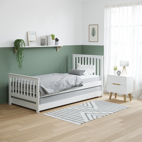 Oxford Guest Bed In Cream With Pop-Up Trundle