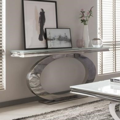 Orion Mirrored Console Table In White - Vida Living