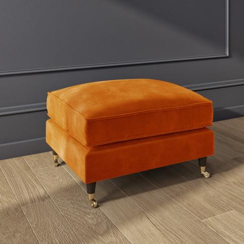 Opulence Orange Velvet Footstool - Payton