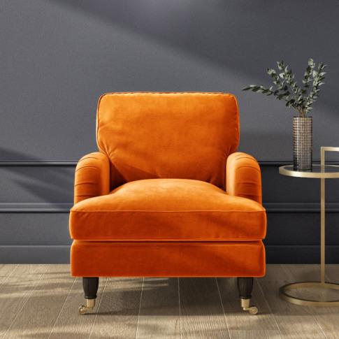 Opulence Orange Velvet Armchair - Payton