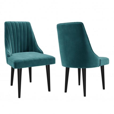 Pair Of Teal Blue Velvet Ribbed Dining Chairs - Pene...