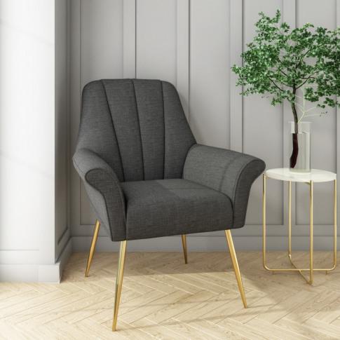 Dark Grey Linen Armchair With Gold Legs - Contempora...