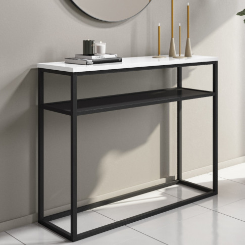 Narrow White Gloss Console Table With Black Metal Ba...