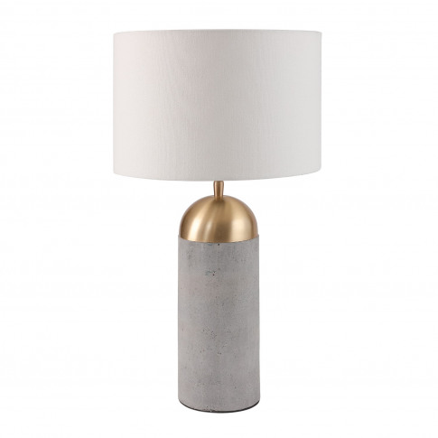 Grey Concrete Table Lamp With Gold Finish & White Sh...