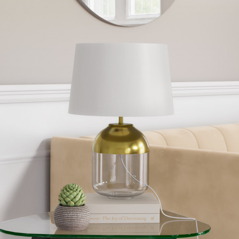 Glass Table Lamp With Copper Finish & White Shade - ...