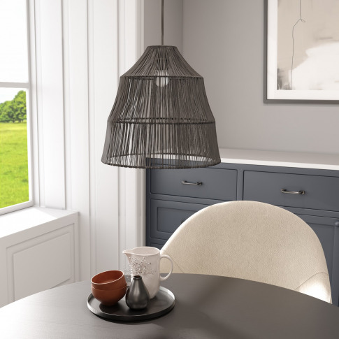 Black Wicker Effect Pendant Light -  Williamsburgh