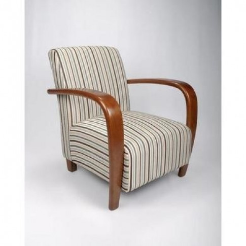 Restmore Stripe Armchair In Light Blue With Wooden A...