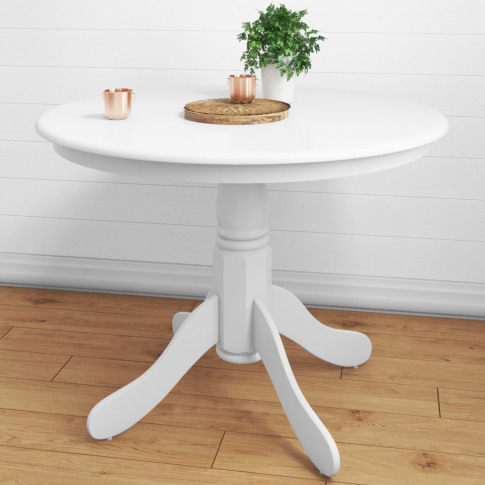 Small Round Dining Table In White - Seats 4 - Rhode ...