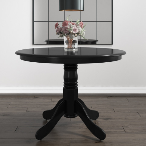 Small Round Dining Table In Black - Seats 4 - Rhode ...