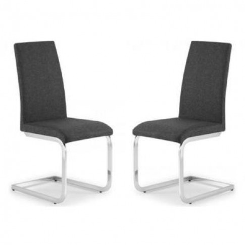 Grey Fabric Pair Of Dining Chairs With Chrome Legs -...